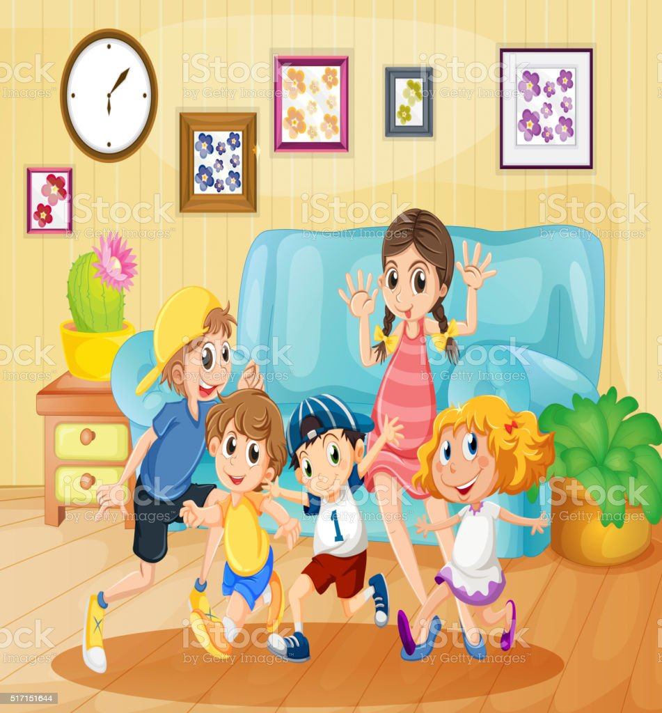 Kinder Wohnzimmer Children Playing In The Living Room Illustration