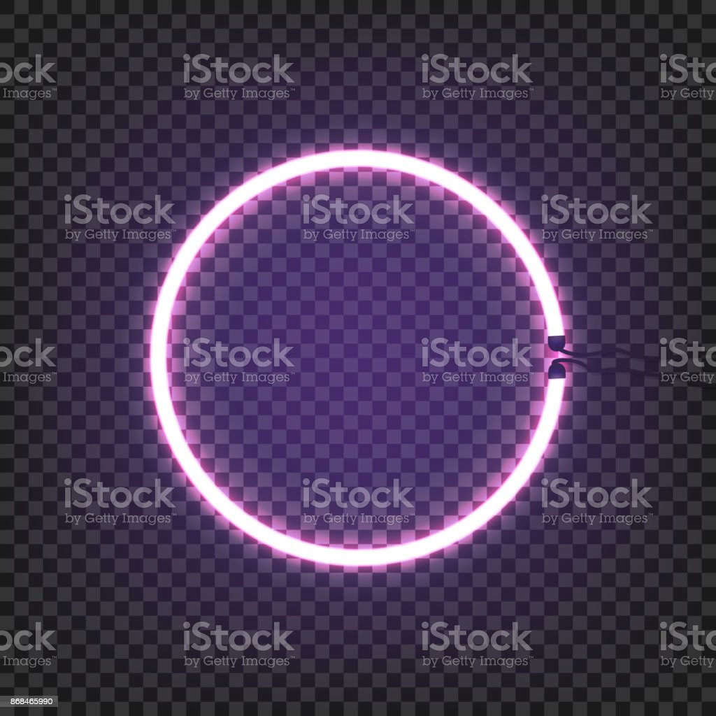 Neon Lamp Circle Neon Lamp Wall Sign Isolated On Transparent Background