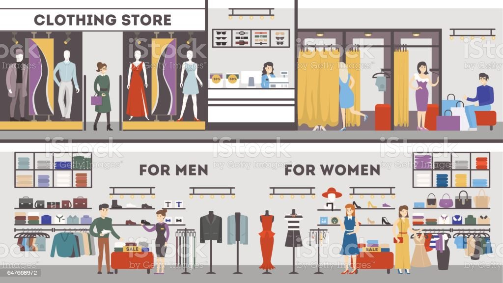Royalty Free Clothing Store Clip Art Vector Images