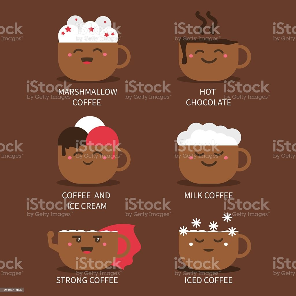 Bilder Tassen Vector Cute Coffee Cups With Different Coffee Types And Toppings