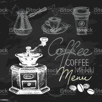 Coffee Hand Drawn Chalkboard Design Set stock vector art ...