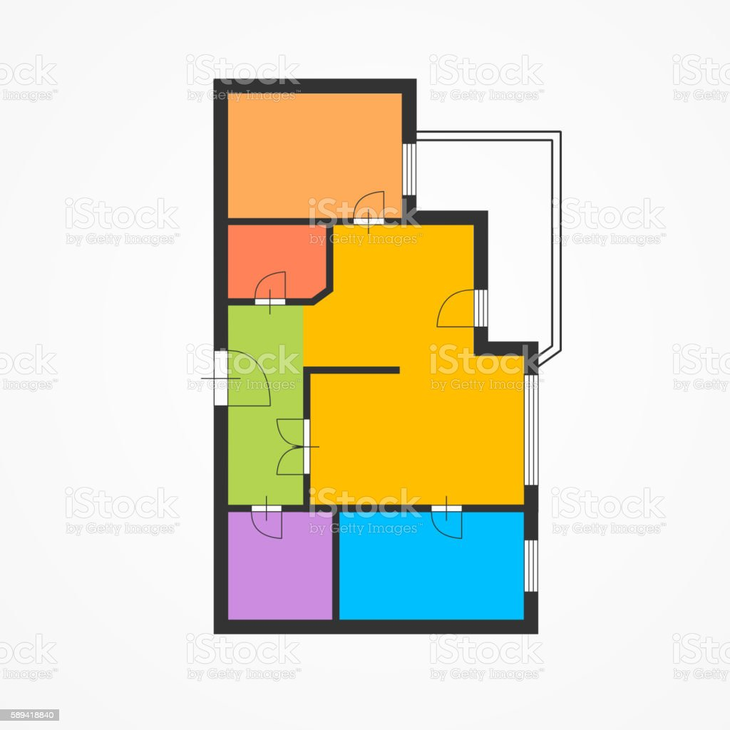 Flat Plan Colorful Flat Plan Vector Stock Vektor Art Und Mehr Bilder Von