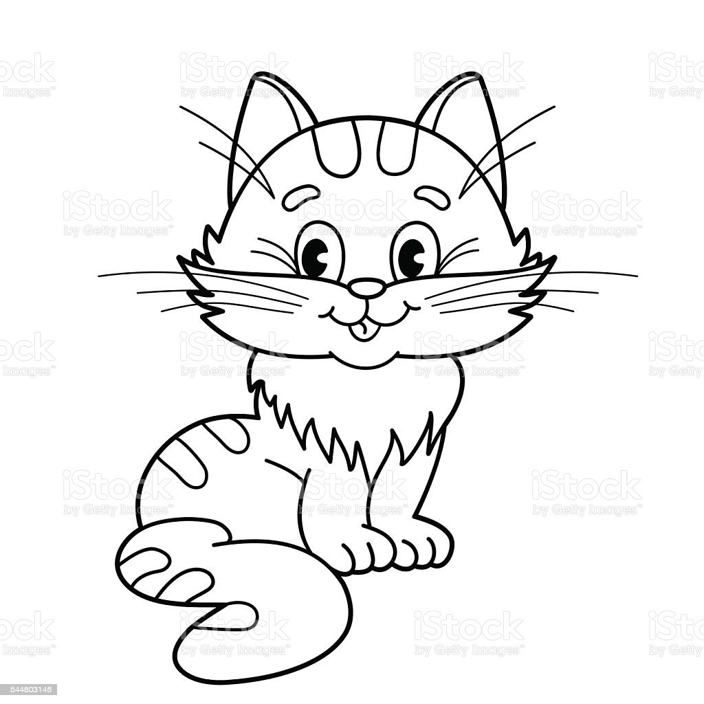 Coloring Page Outline Of Cartoon Fluffy Cat For Kids Stock