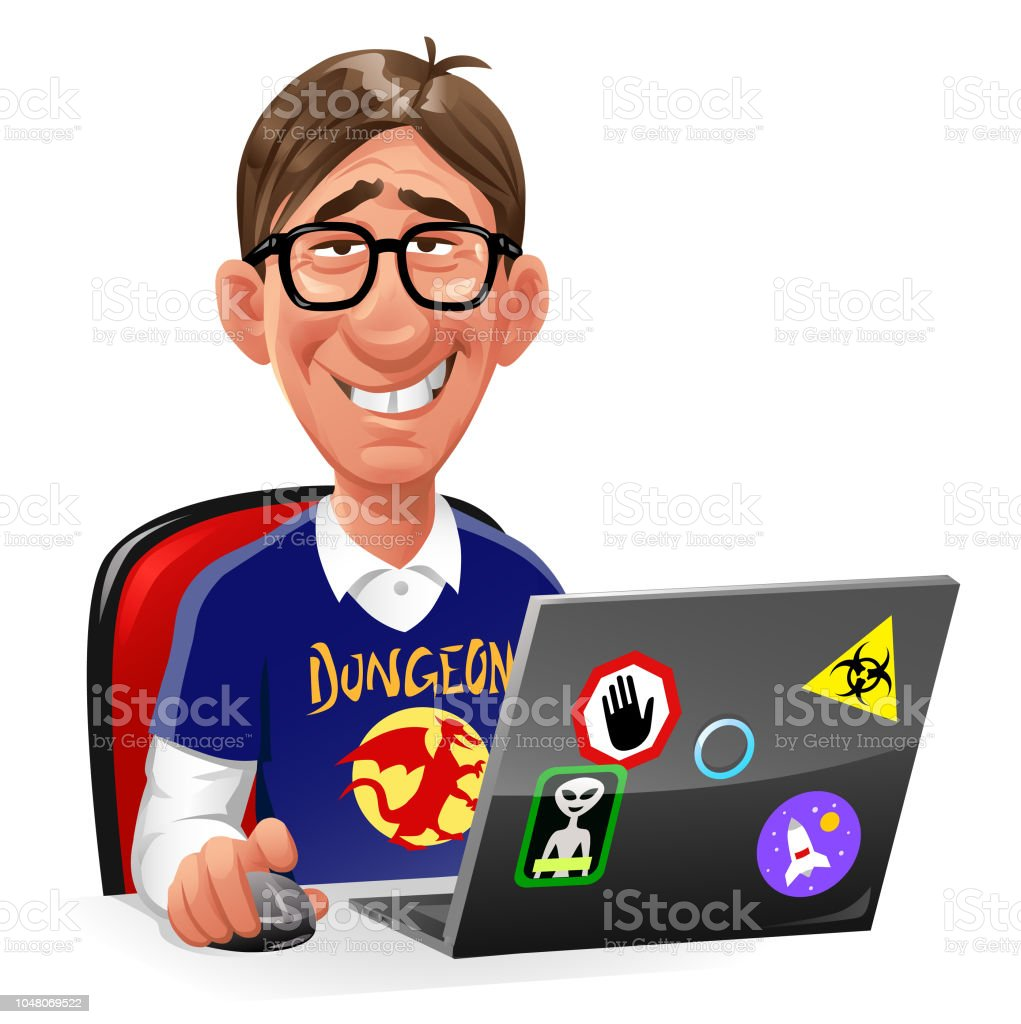 Hair Style Man Zero Computer Nerd Sitting At Laptop Stock Illustration