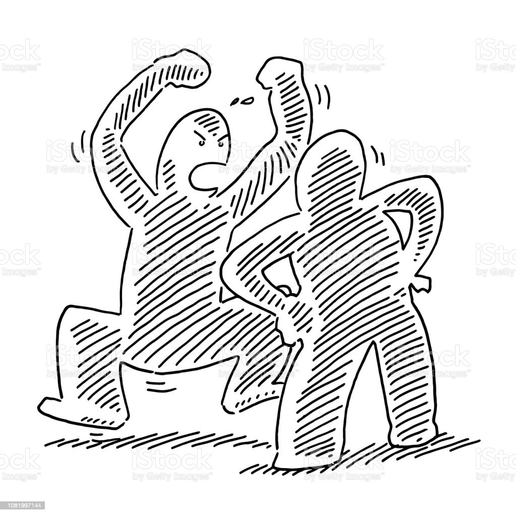 Figuren Zeichnen Hand Drawn Vector Drawing Of A Conflict Disputation Human Figures
