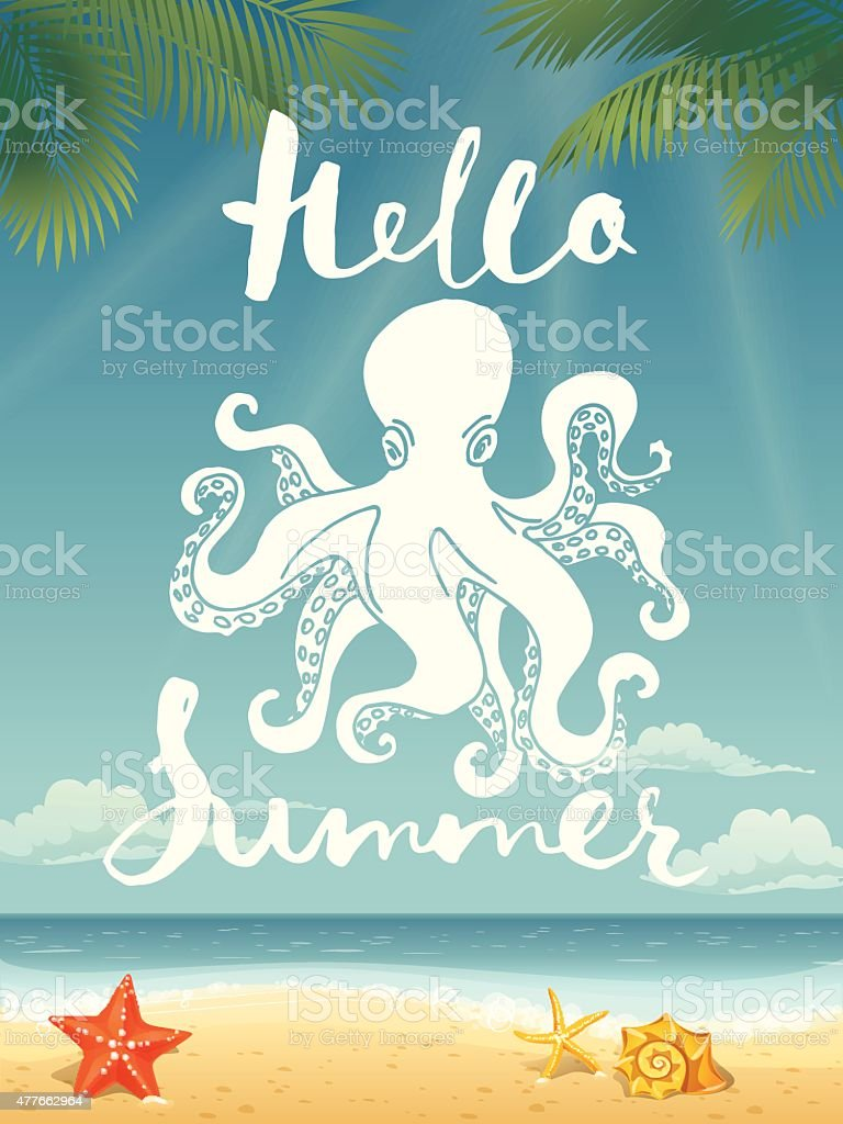 Cool Octopus Art Cool Vector Poster With An Octopus And Motivational Lettering