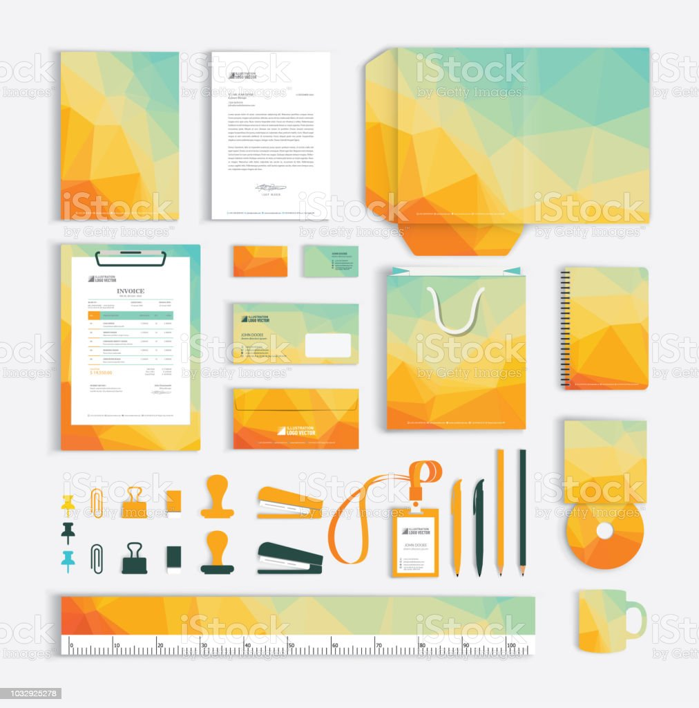 Corporate Graphic Design Corporate Identity Design Template With Yellow Polygonal Pattern