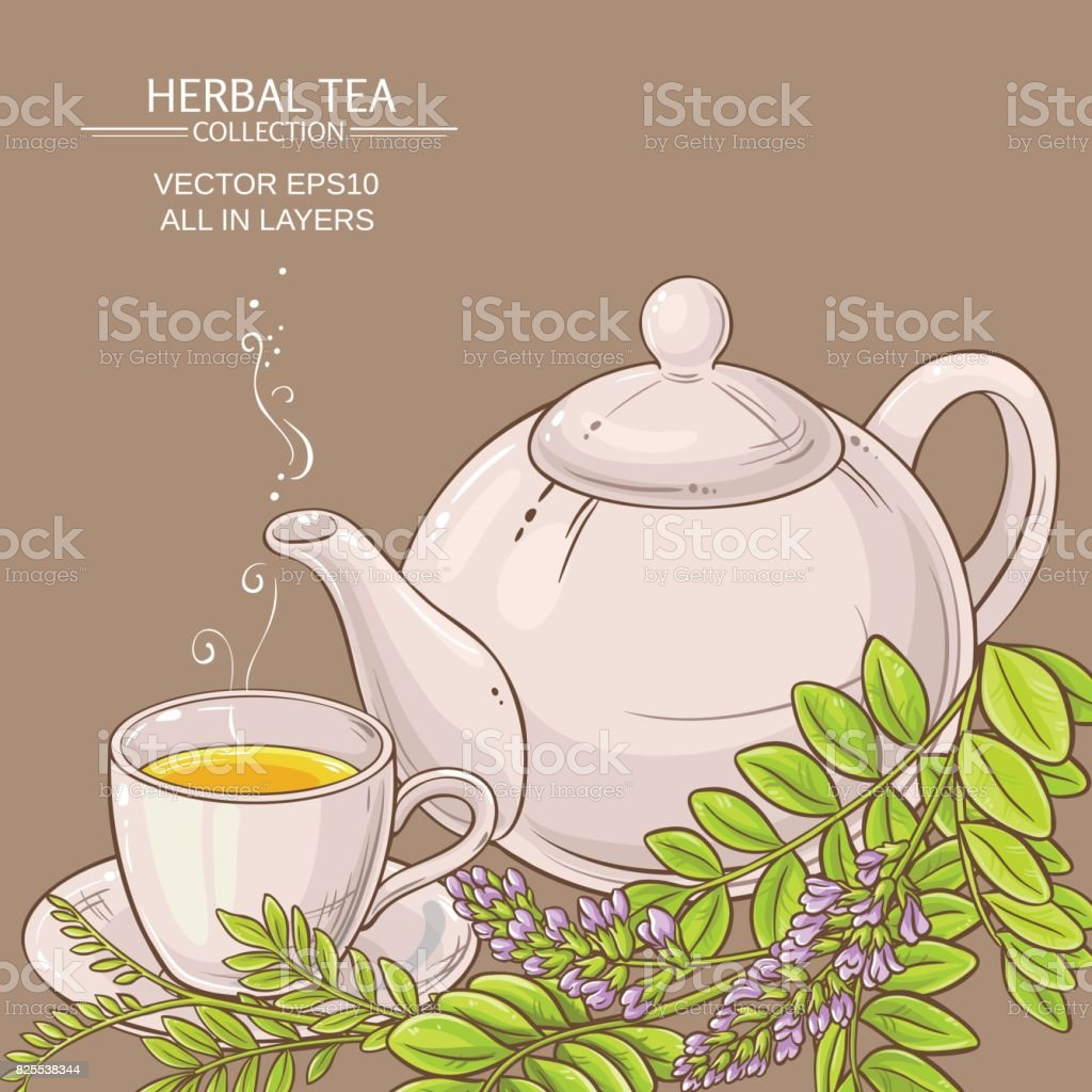 Teapot With Cup Cup Of Licorice Tea And Teapot On Color Background