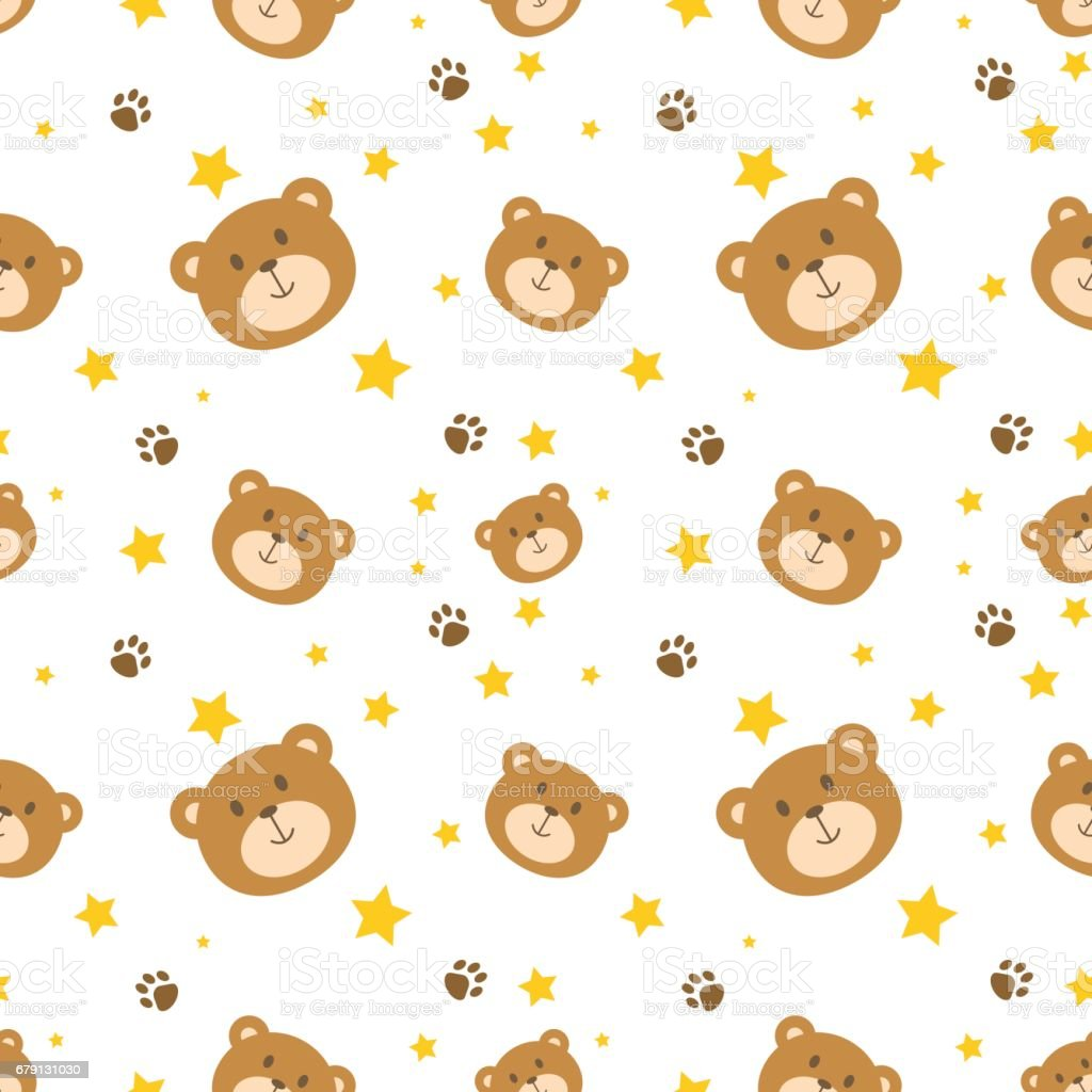 Free Wallpapers Of Cute Teddy Bears Cute Bear Face Seamless Pattern Background Stock Vector