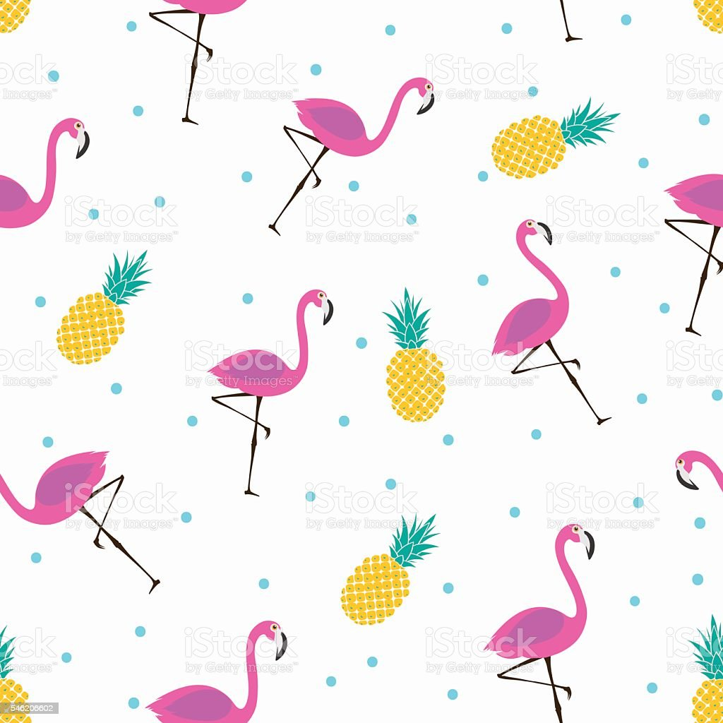 Watermelon Wallpaper Cute One Cute Pattern With Flamingos And Pineapples Stock Vector