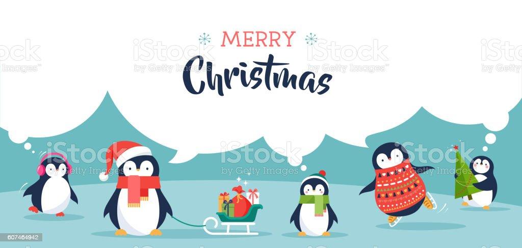 Cute Penguin Wallpaper Cartoon Cute Penguins Banner Merry Christmas Greetings Stock