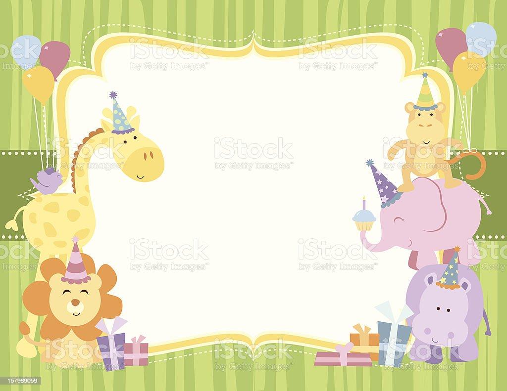 Cute Twins Baby Hd Wallpaper Cute Safari Animals Birthday Card Stock Vector Art