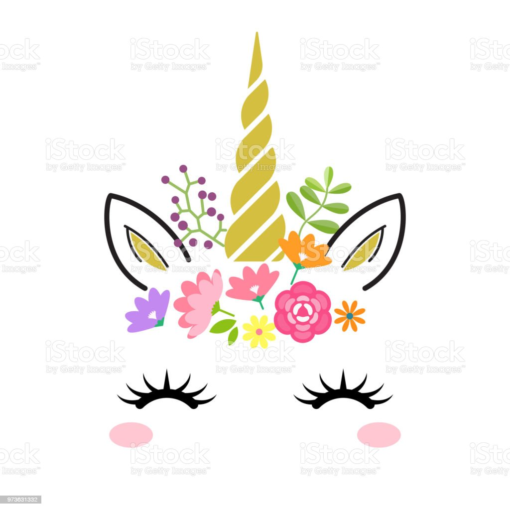 Baby Girl Nursery Wallpaper Borders Cute Unicorn Face With Gold Horn And Flowers Isolated On