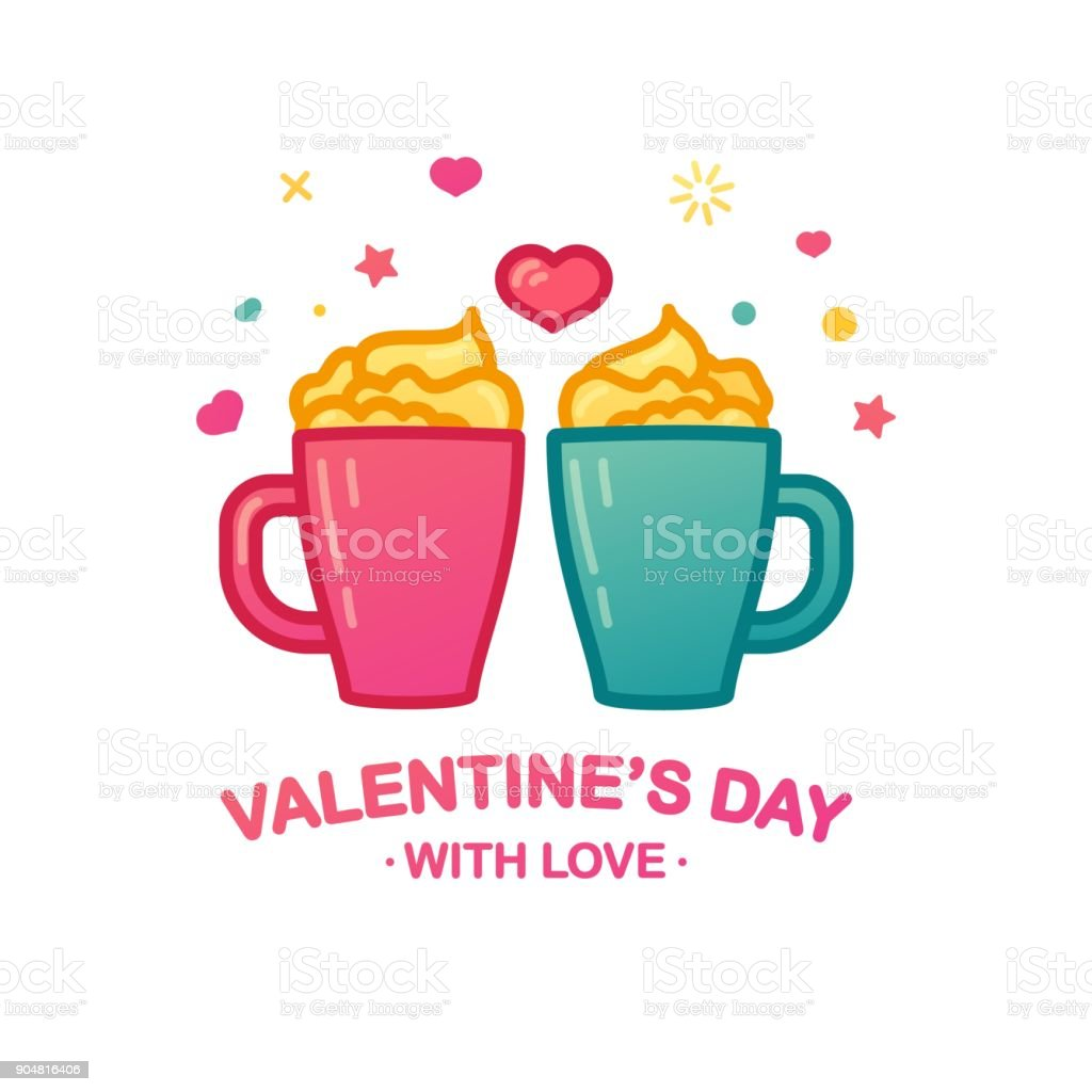 Mug A Cafe Design Icon With Cute Tea Mug A Beverage Logo With A Heart Shape