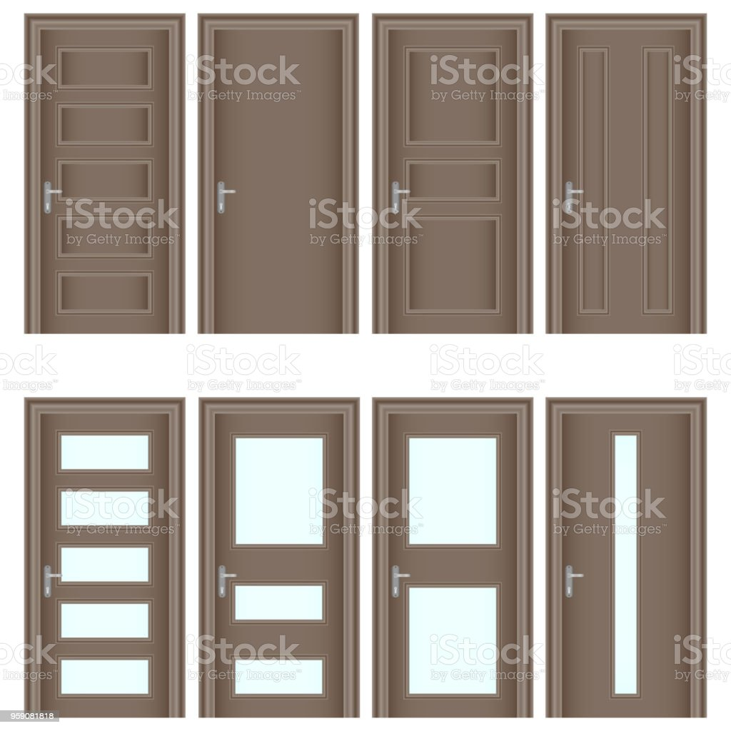 Entrance Doors Door A Set Of Realistic Brown Doors Entrance Doors With Glass