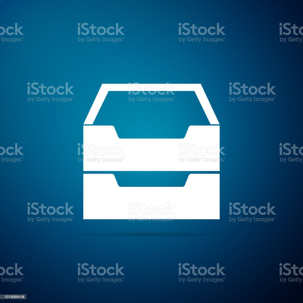 Filing Cabinet Icon Flat Drawer With Documents Icon Isolated On Blue Background Archive