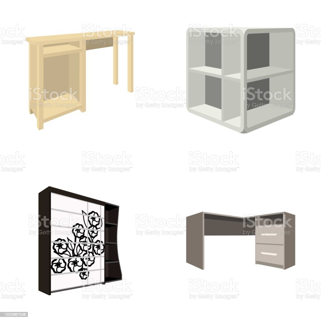 Dressing Table Corner Shelves Computer Desk Wardrobe With Glass Bedroom Furniture Set Collection Icons In Cartoon Style Vector Symbol Stock Illustration Web Stock Illustration Download Image Now Istock