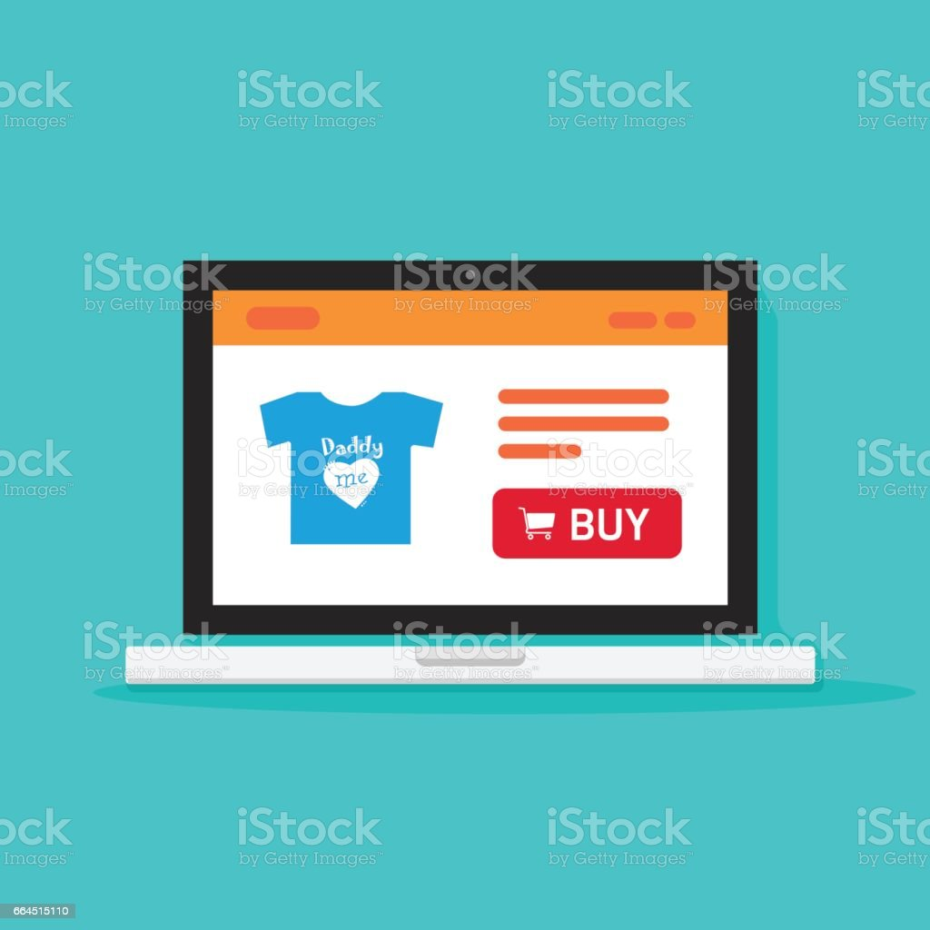 Computer Online Store Ecommerce Shop Online Store On Laptop Computer Vector Illustration
