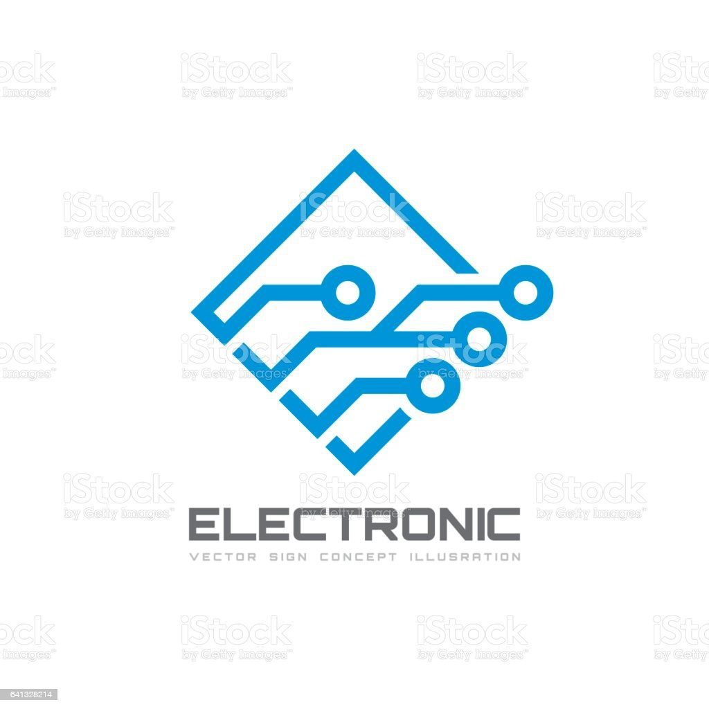 Electronica Medium Font Electronic Technology Vector Template For Corporate Identity