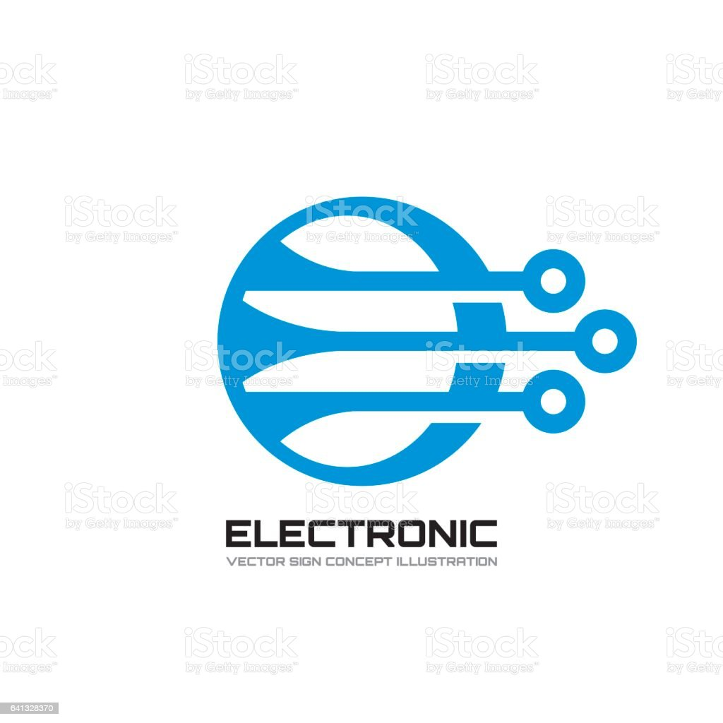 Electronica Medium Font Electronic Vector Template Concept Illustration Abstract Computer