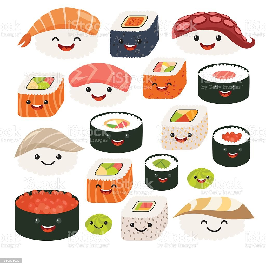 Cute Sushi Wallpaper Hd Emoji Sushi Characterscartoon Japanese Food Vector Set