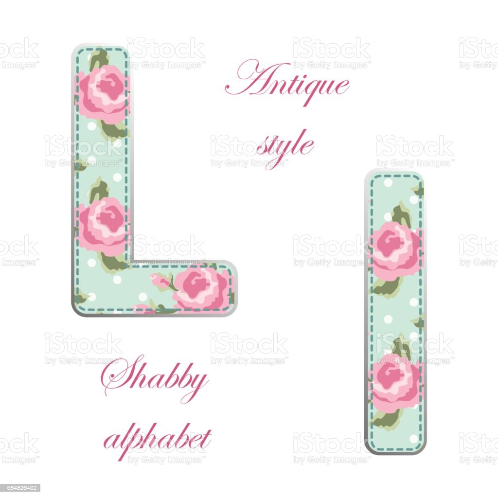 Möbel Im Shabby Look Fabric Retro Letters In Shabby Chic Style стоковая векторная