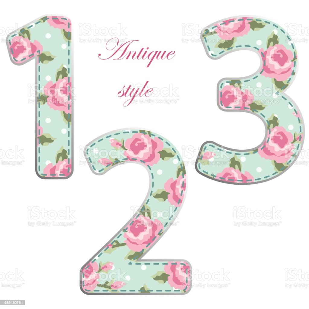 Möbel Im Shabby Look Fabric Retro Numbers In Shabby Chic Style Stock Vector Art More