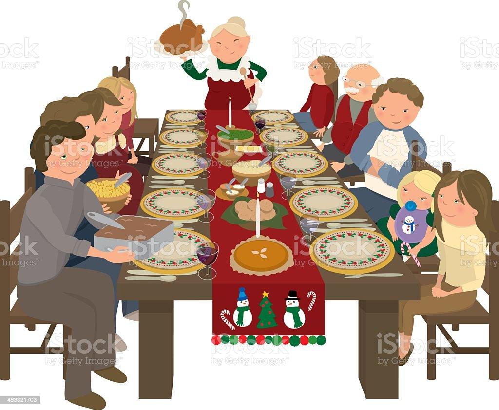 Family Christmas Dinner Table Stock Vector Art More
