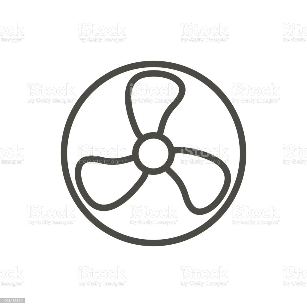 Symbool Ventilator Fan Icon Vector Line Fresh Air Symbol Stock Vector Art