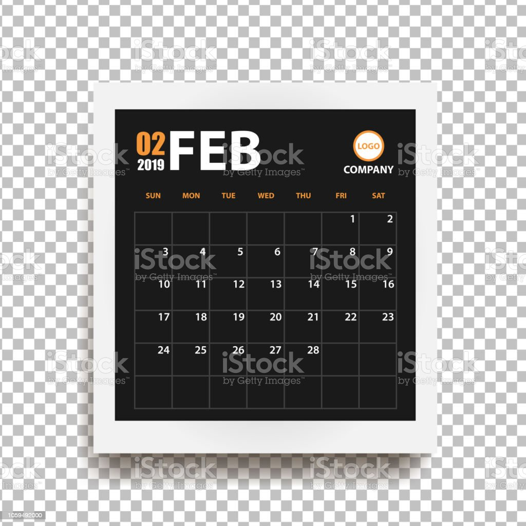 Bilderrahmen Große February 2019 Calendar In Realistic Photo Frame With Shadow Isolated
