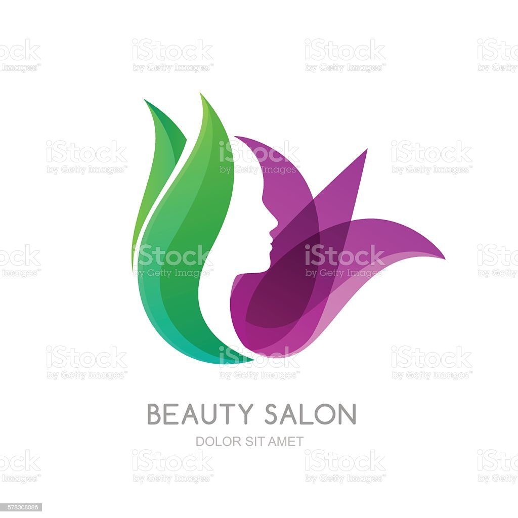Salon Sett Female Face On Green Leaves And Lily Flower Background Stock
