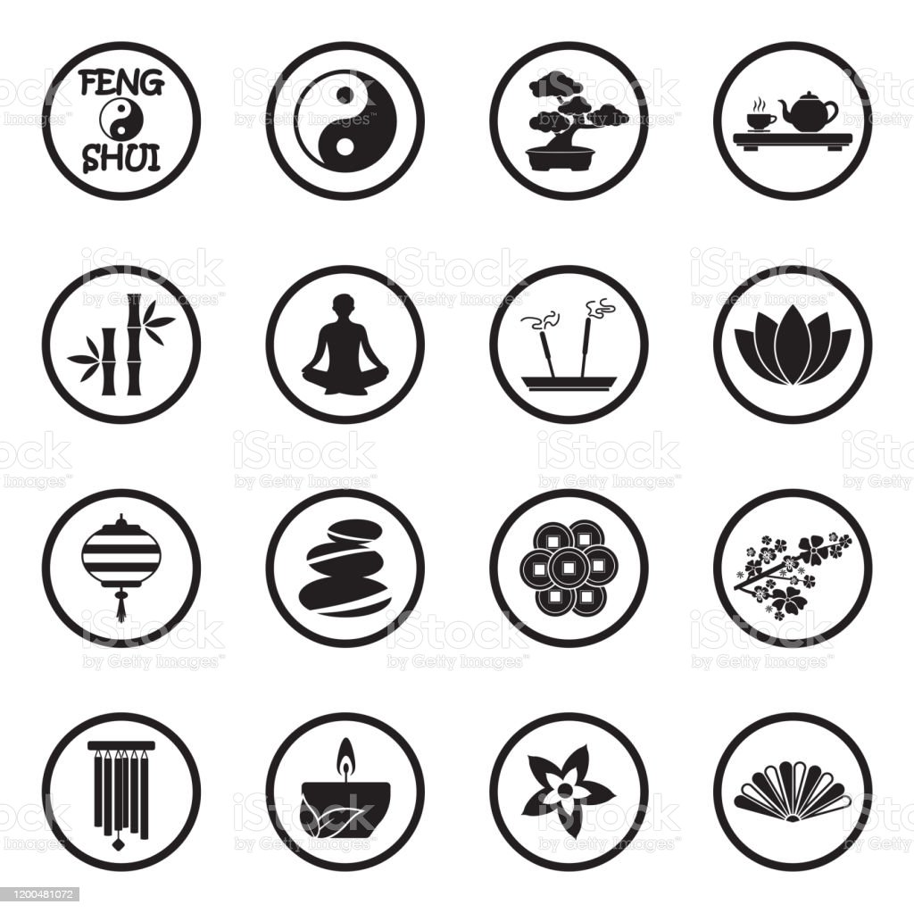 Feng Shui Icons Black Flat Design In Circle Vector Illustration Stock Illustration Download Image Now Istock
