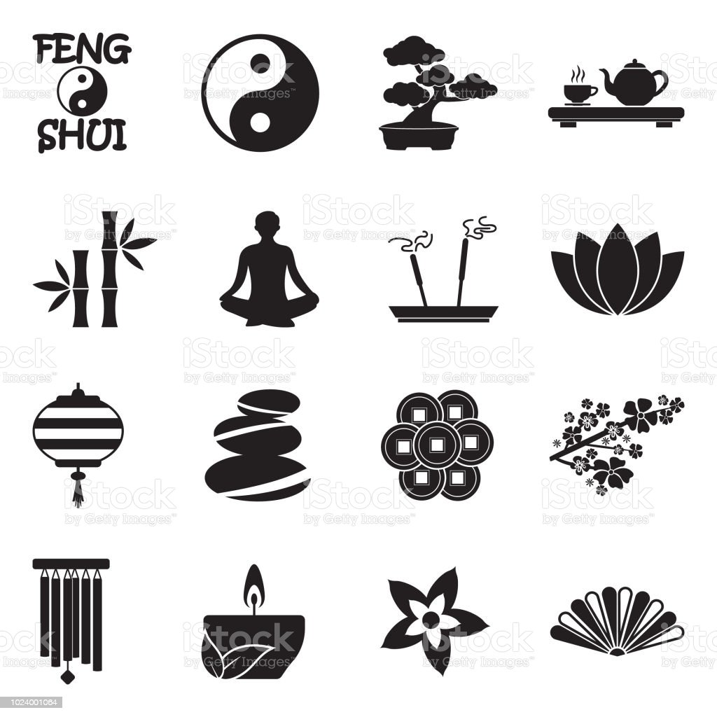Feng Shui Icons Black Flat Design Vector Illustration Stock Illustration Download Image Now Istock