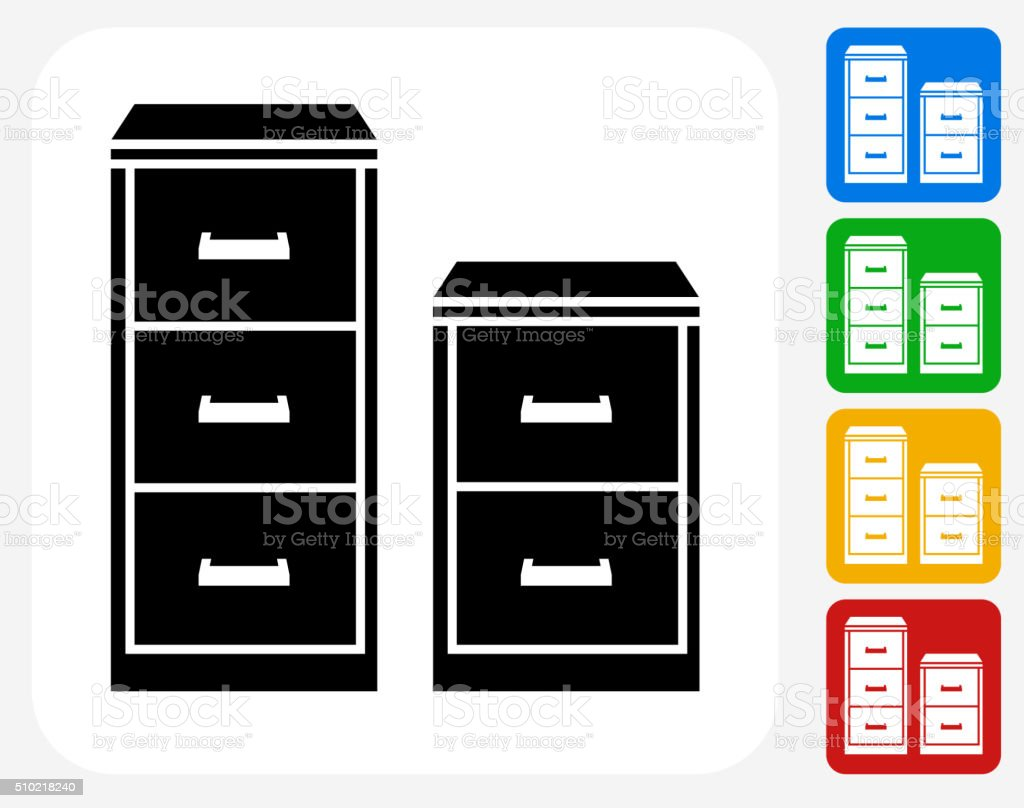 Filing Cabinet Icon Flat Filing Cabinet Icon Flat Graphic Design Stock Vector Art More