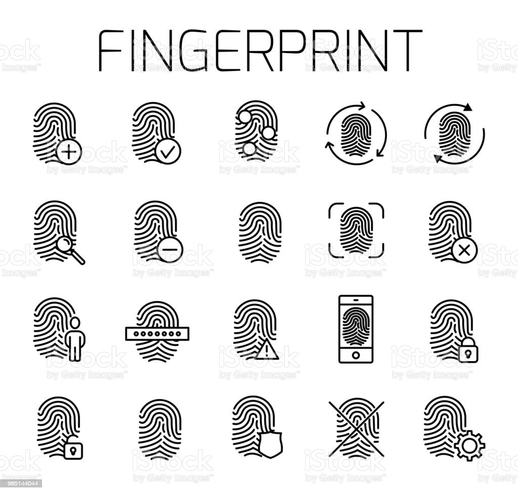 Fingerabdruck Bilder Fingerprint Related Vector Icon Set Well Crafted Sign In Thin Line