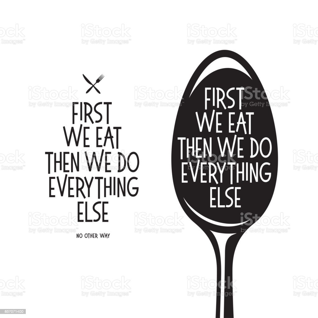 Poster Voor Keuken First We Eat Typography Kitchen Poster Soup Ladle With Food Related