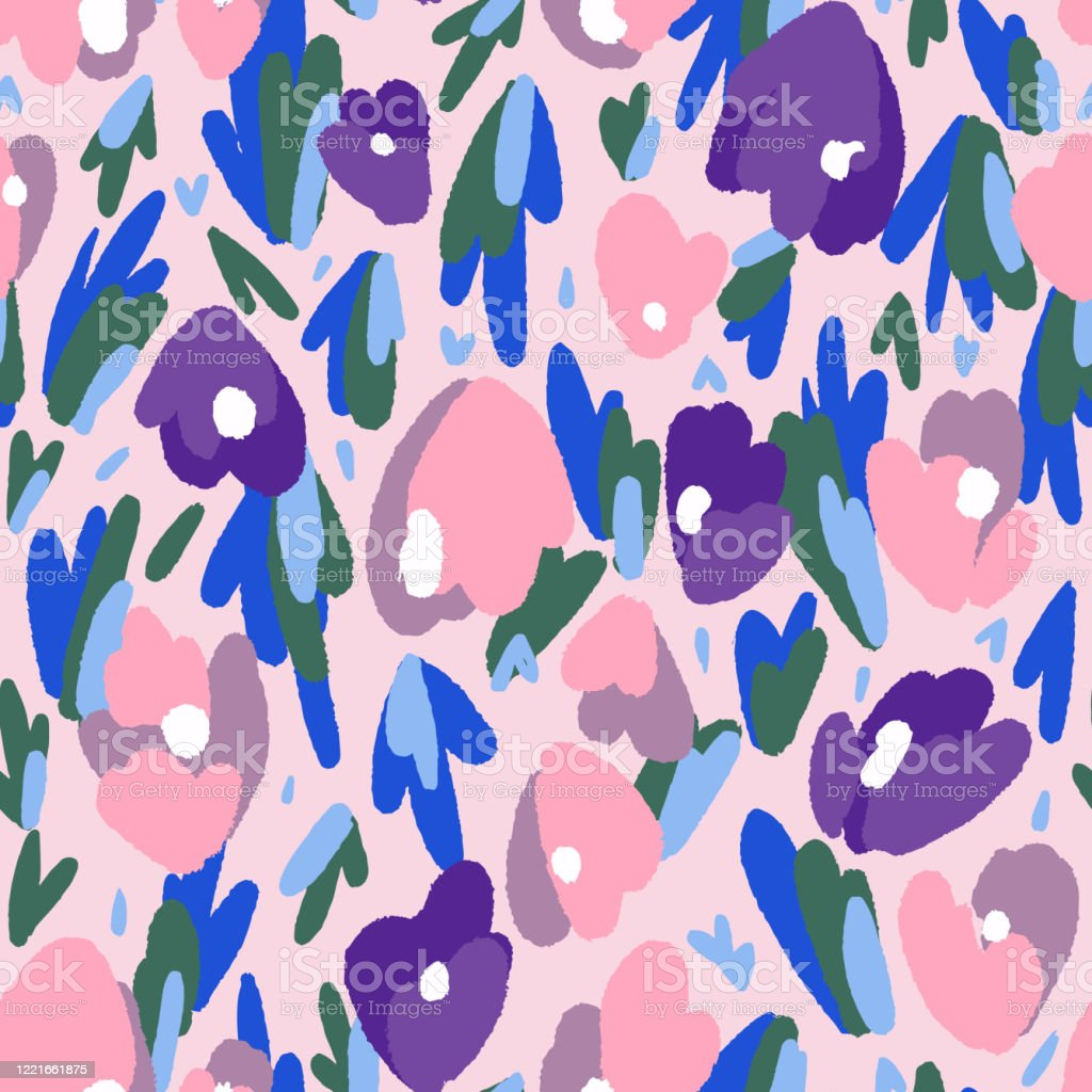 Floral Seamless Pattern Made Of Abstract Geometric Organic Shapes Bright Summer Botanical Background Stock Illustration Download Image Now Istock