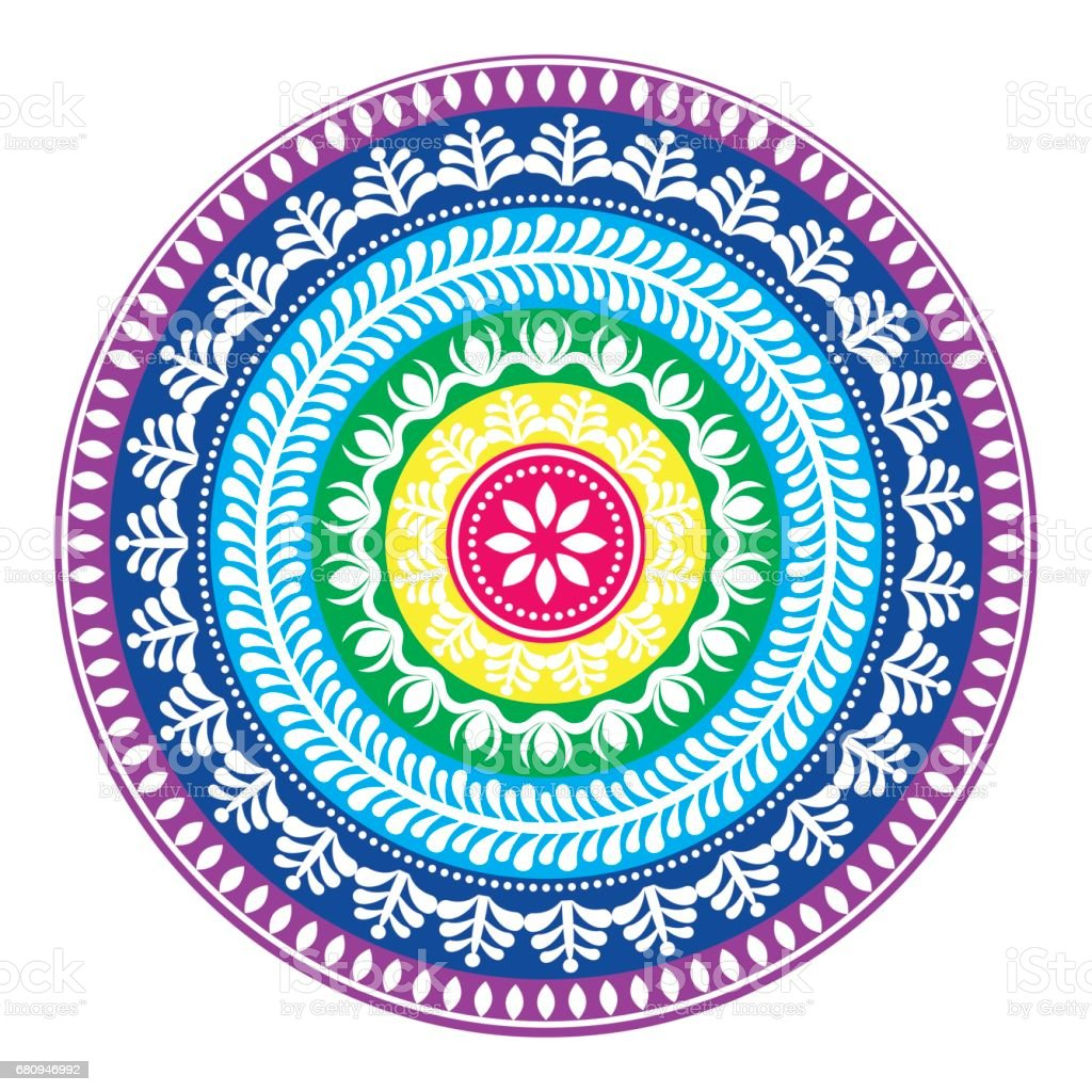 Folk Round Pattern Hippie Colorful Mandala Boho Style Ornament Stock Illustration Download Image Now Istock