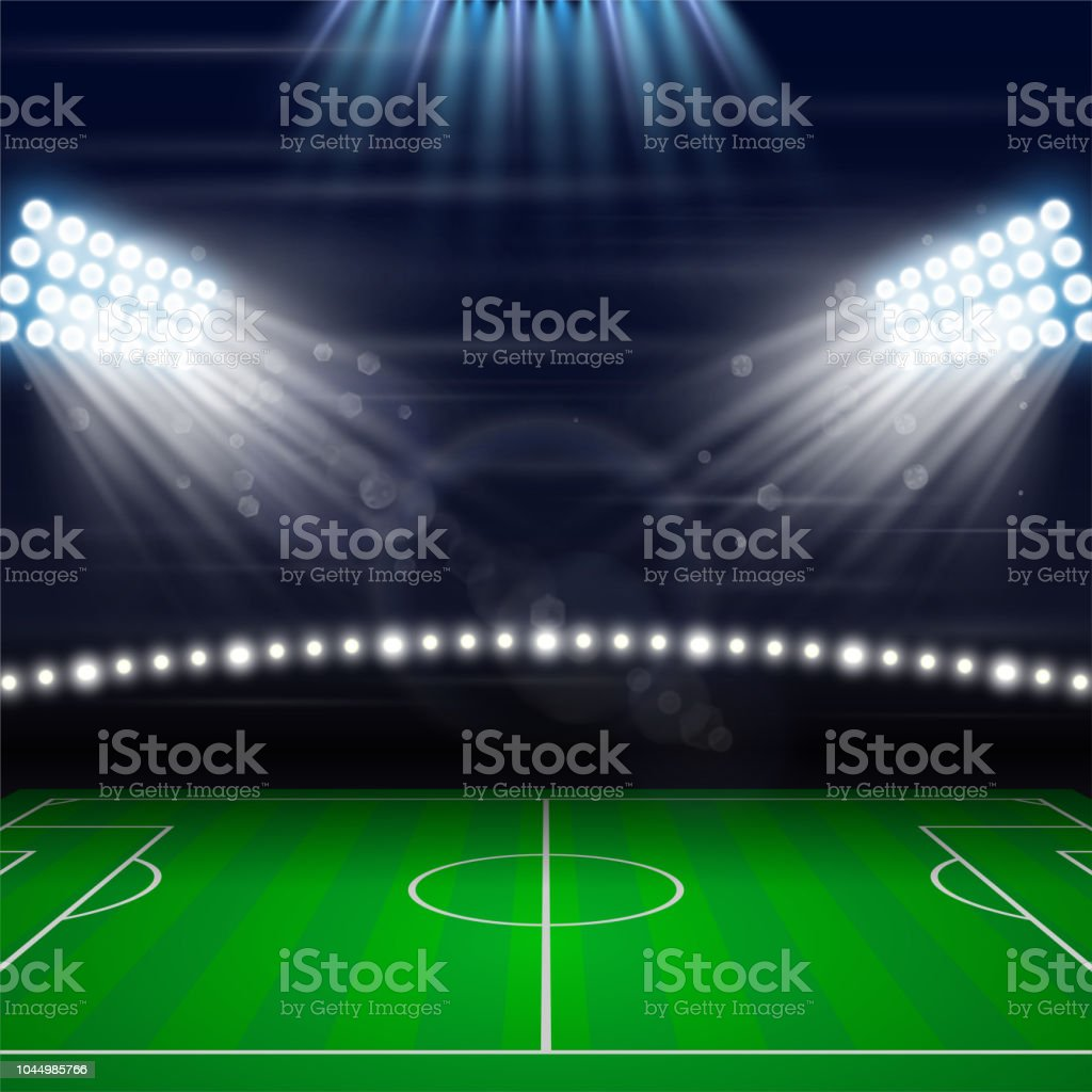 Eclairage Stade De Foot Terrain De Soccer Football Jouant Illustration Vectorielle