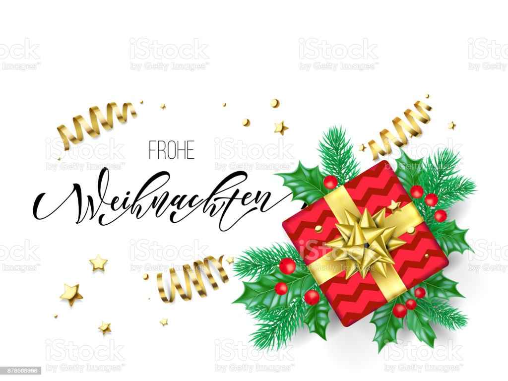 Frohe Weihnachten Frohe Weihnachten German Merry Christmas Holiday Hand Drawn Quote