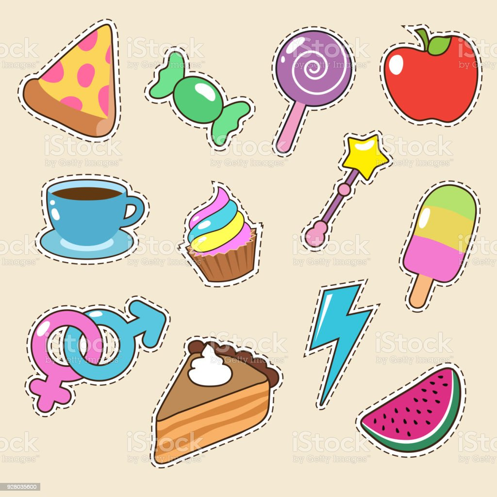 Aufkleber Küche Kaffee Fruit Pizza Coffee And Candy Stickers Vector Icons Girl Fashion