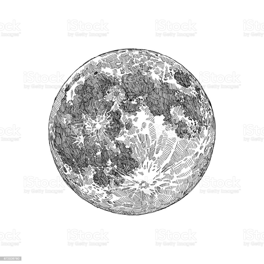 Full Moon Drawing Black And White Full Moon Sketch Stock Vector Art And More Images Of
