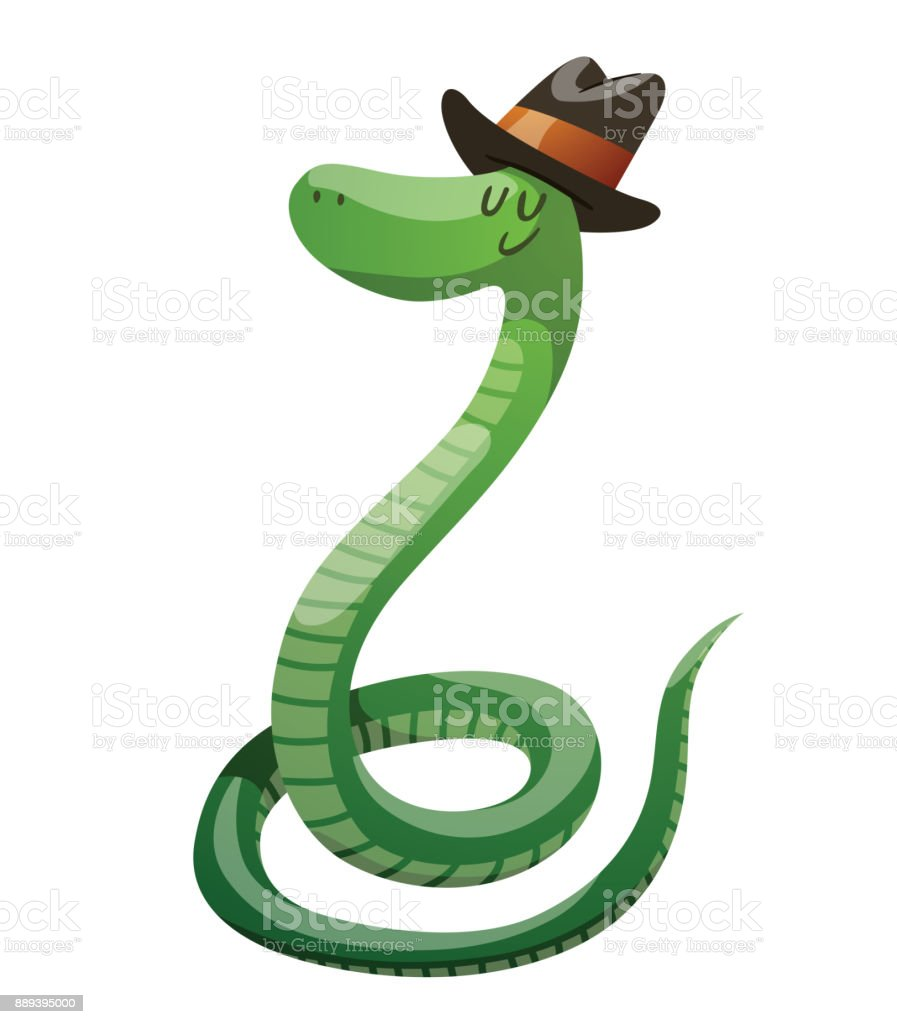 Bruine Slang Vector Cartoon Image Of A Funny Green Snake With Black Brown Hat On