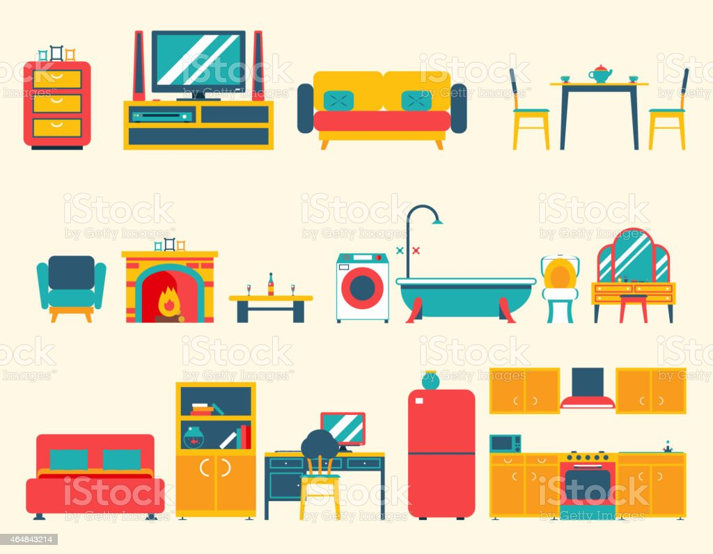 Furniture House Interior Icons And Symbols Set Living Room Kitchen Stock Illustration Download Image Now Istock