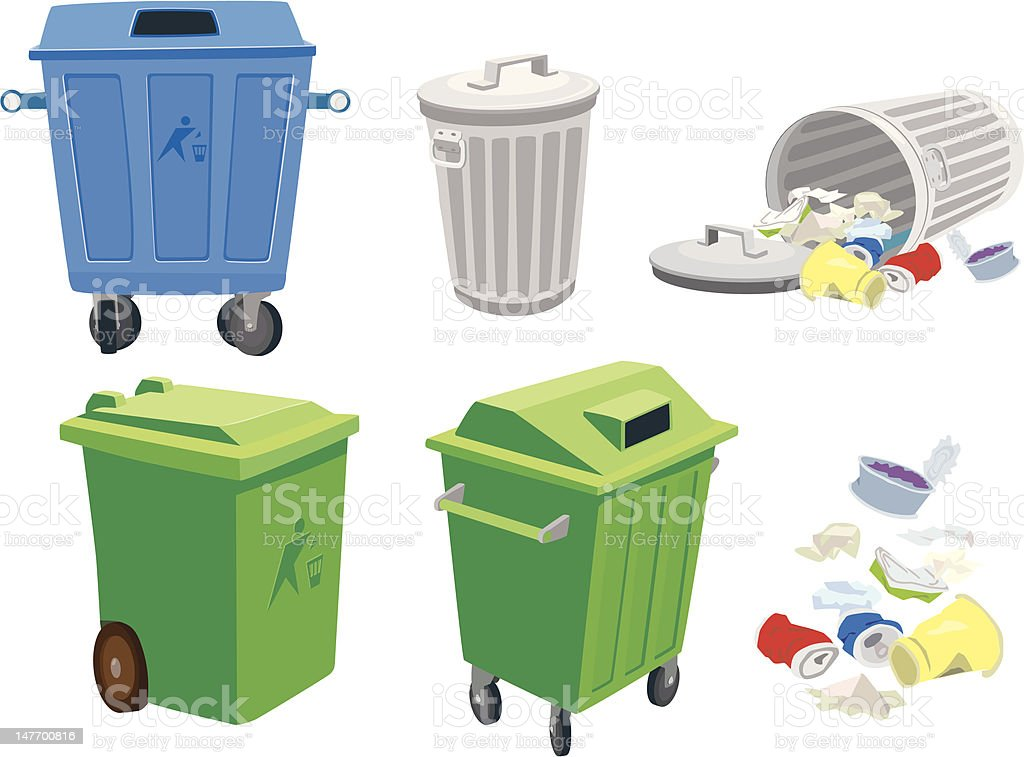 Royalty Free Garbage Can Clip Art Vector Images