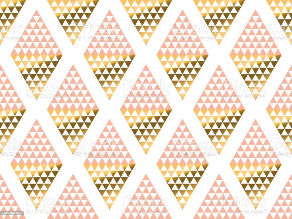 Art Nouveau Yellow Geometry Triangle Pattern Gold Stylized Vector Illustration Art