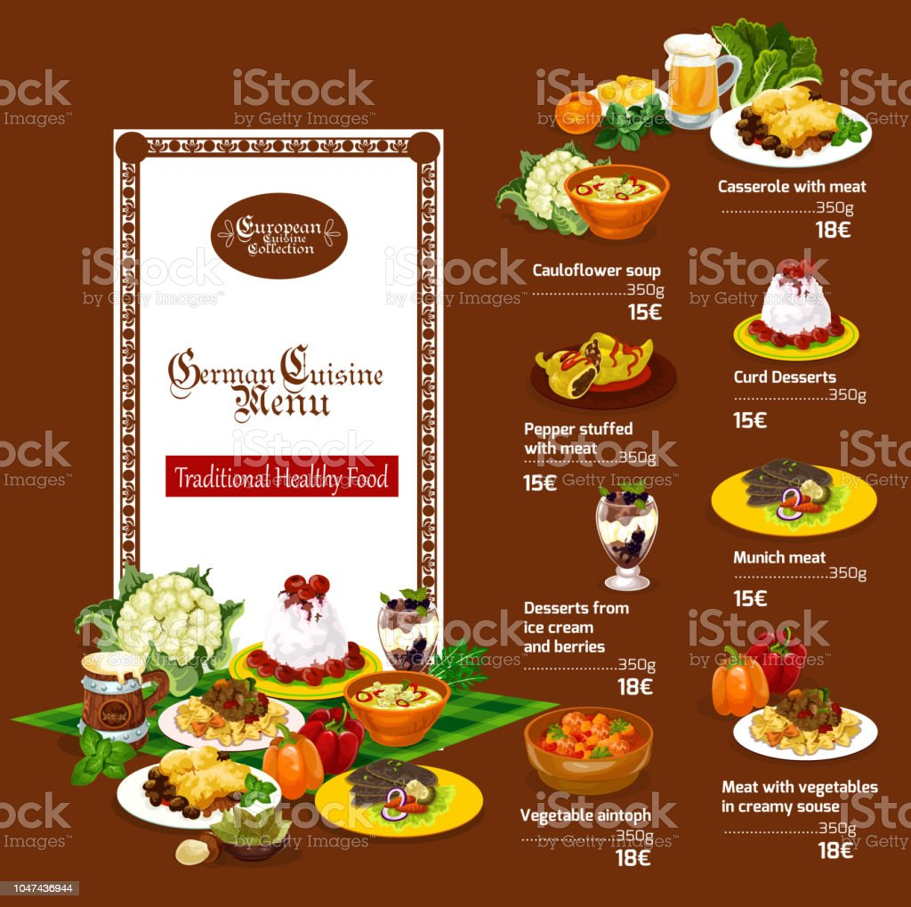Restaurant Deutsche Küche German Cuisine Restaurant Menu Dessert And Beer Drink Beef Steak
