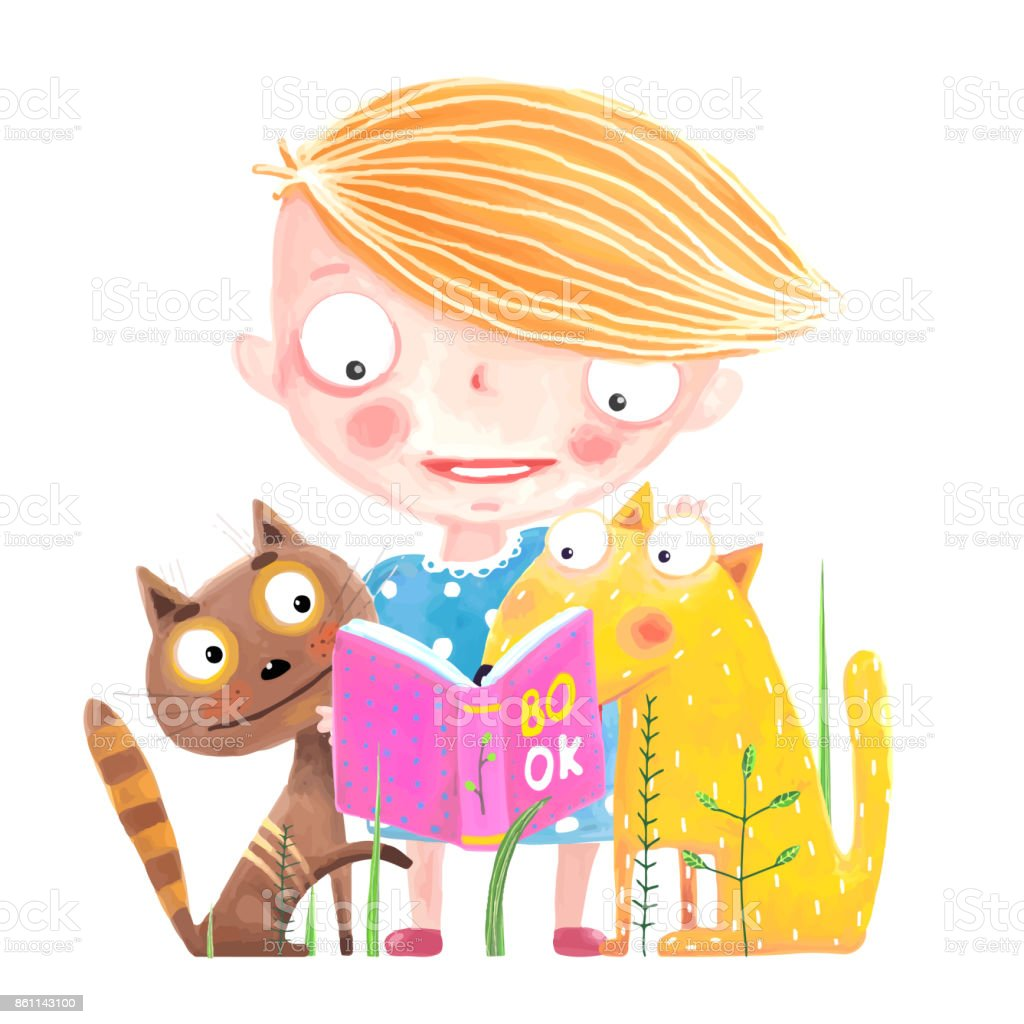 Perros Salvajes Libro Funny Animals And Child Studying Vector Cartoon