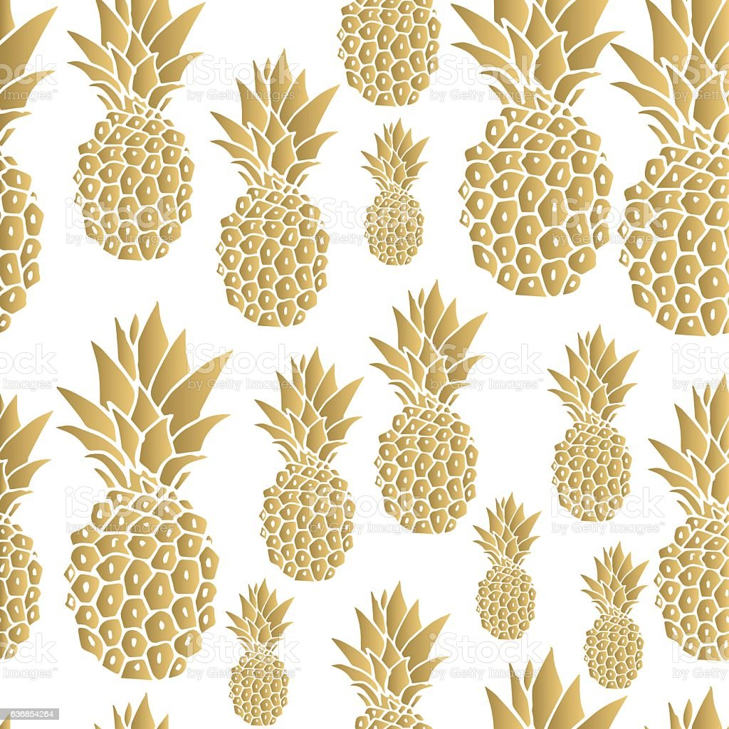 Cute Christian Pintrest Wallpapers Gold Pineapple Background Stock Vector Art 636854264 Istock