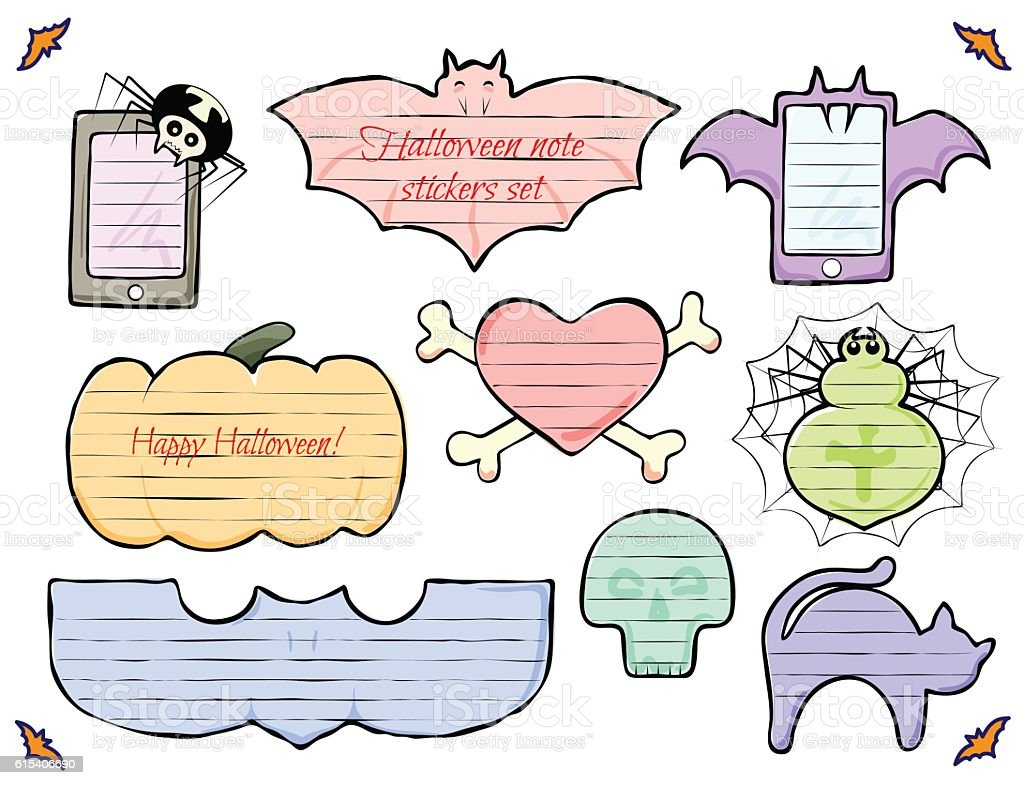 Halloween Begriffe Halloween Note Stickers Colored Set Bat Spider Cat Skull Heart